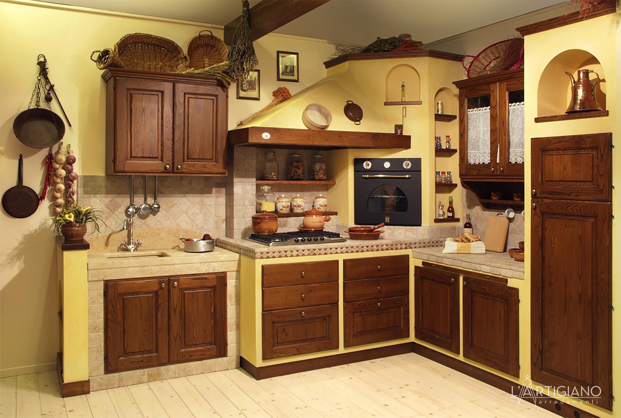 Forno Cucina In Muratura cucina angolare in muratura: cucina clivia - l'artigiano